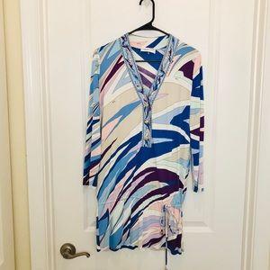 Emilio Pucci Blue Print Long Sleeve Dress Size 14